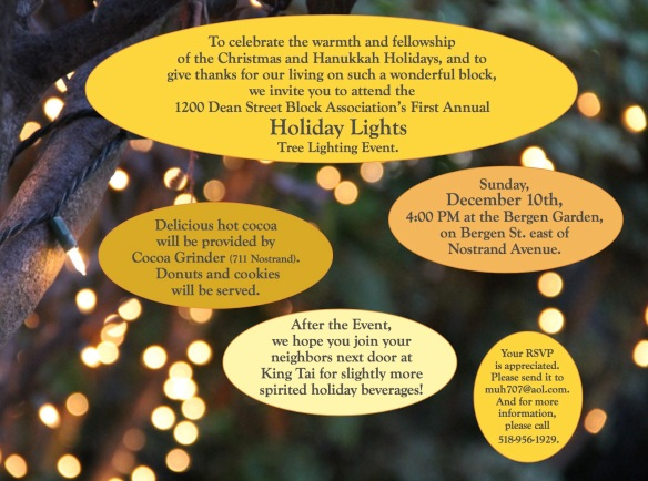 To celebrate the warmth and fellowship of the Christmas and Hanukkah Holidays, and to give thanks for our living on such a wonderful block, we invite you to attend the 1200 Dean Street Block Association's First Annual Holiday Lights Tree Lighting Event.