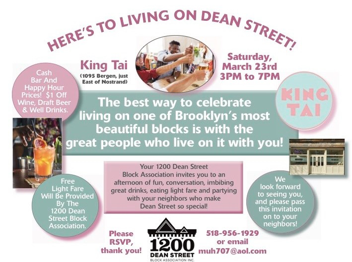 flyer announcing the 1200 Dean Street Block Association's March 23, 2019 Meet and Greet at King Tai in Brooklyn, NY